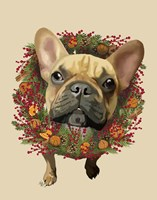 French Bulldog, Cranberry Wreath Fine-Art Print