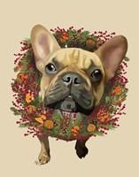 French Bulldog, Cranberry Wreath Fine-Art Print