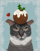 Grey Cat and Christmas Pudding Fine-Art Print