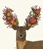 Deer, Cranberry and Orange Wreath Fine-Art Print