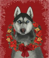 Husky and Poinsettia Wreath Fine-Art Print