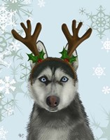Husky and Antlers Fine-Art Print