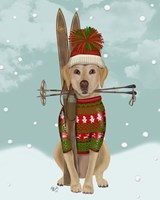 Yellow Labrador, Skiing Fine-Art Print