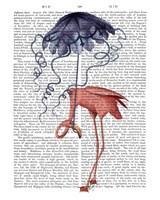 Flamingo and Parasol Fine-Art Print