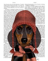 Dachshund in Pink Hat and Scarf Fine-Art Print