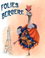 Ostrich, Can Can in Orange and Blue Fine-Art Print