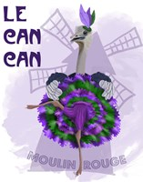 Ostrich, Can Can in Purple and Green Fine-Art Print