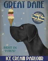 Great Dane, Black, Ice Cream Fine-Art Print