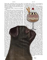 Pug, Black, Ice Cream Fine-Art Print