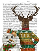 Deer in Christmas Sweater with Snowman Fine-Art Print