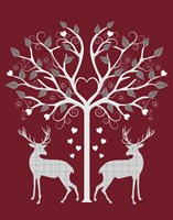 Christmas Des - Deer and Heart Tree, Grey on Red Fine-Art Print