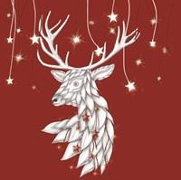White Deer and Hanging Stars Fine-Art Print