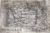 Bordeaux Map White Fine-Art Print