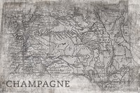 Champagne Map White Fine-Art Print