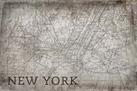 New York Map White Fine-Art Print