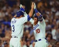 Chris Taylor & Justin Turner celebrate turner's 2 run Home Run Game 1 of the 2017 World Series Fine-Art Print