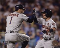 Carlos Correa & Jose Altuve Home Run celebration Game 2 of the 2017 World Series Fine-Art Print