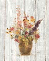 Wild Flowers in Vase I on Barn Board Fine-Art Print