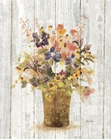 Wild Flowers in Vase II on Barn Board Fine-Art Print