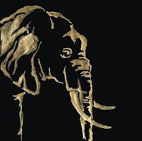 Gilded Elephant on Black Fine-Art Print