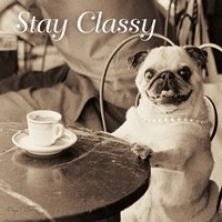 Cafe Pug Stay Classy V2 Fine-Art Print