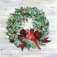 Holiday Wreath I on Wood Fine-Art Print
