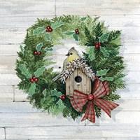 Holiday Wreath III on Wood Fine-Art Print