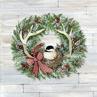Holiday Wreath IV on Wood Fine-Art Print