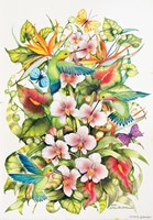 Orchid Splendor with Birds Fine-Art Print