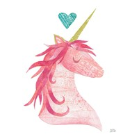 Unicorn Magic II Heart Sq Pink Fine-Art Print
