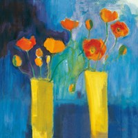 Cadmium Orange Poppies on Blue v2 Fine-Art Print