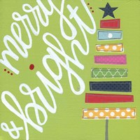Green Stacked Tree Merry Bright Fine-Art Print