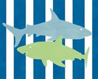 Blue and Green Shark III Fine-Art Print