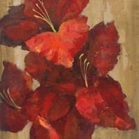 Vivid Red Gladiola on Gold Crop Fine-Art Print