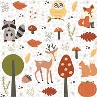 Fall Tree & Animal Pattern Fine-Art Print