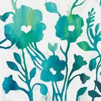 Teal Trio IV on White Fine-Art Print