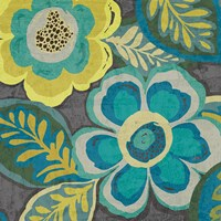 Floral Assortment Teal on Dark Grey Crop III Fine-Art Print