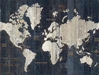 Old World Map Blue Crop Fine-Art Print