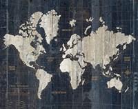Old World Map Blue v2 Fine-Art Print