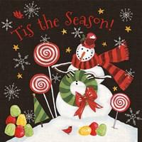 Sweet Snowmen III Black Fine-Art Print