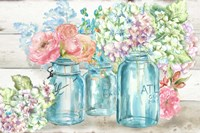 Colorful Flowers in Mason Jar Landscape Fine-Art Print