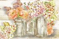Colorful Flowers in Mason Jar Gold Fine-Art Print