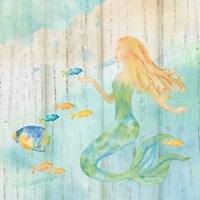 Sea Splash Mermaid Woodgrain II Fine-Art Print