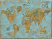 Rustic World Map Sky Blue Fine-Art Print