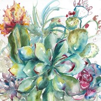 Succulent Garden Watercolor I Fine-Art Print
