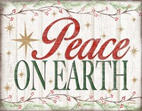 Peace on Earth Woodgrain sign Fine-Art Print