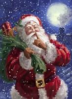 Santa on Blue with moon Fine-Art Print