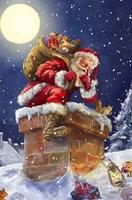 Santa at Chimney with moon Fine-Art Print