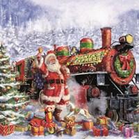 Santa and Red Train Fine-Art Print