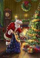 Santa at Tree Blue Sack Fine-Art Print